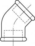 RACCORD EN FONTE MALLEABLE COUDE FF PETIT RAYON 45°- REF 120N