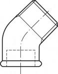 RACCORD EN FONTE MALLEABLE COUDE MF PETIT RAYON 45° - REF 121N