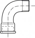 RACCORD EN FONTE MALLEABLE COURBE MF - COURTE 90°- REF 1A