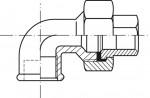 RACCORD EN FONTE MALLEABLE COUDE UNION FF JOINT PLAT 90° - REF 95N