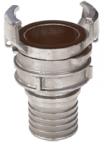 1/2 RACCORD SYMETRIQUE INOX A DOUILLE ANNELEE REDUITE A VERROU AVEC COLLERETTE - REF 2421