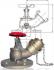 ROBINET INCENDIE ANGLE 45° BRONZE CHAPEAU VISSE PN16 - REF A3298/AU3298